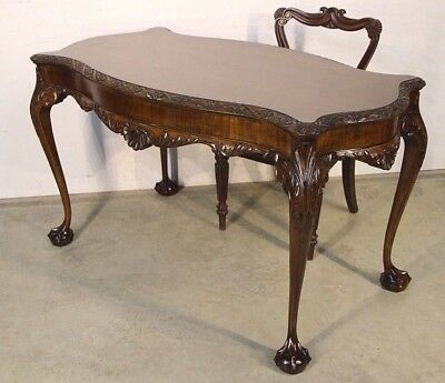 Impressive big antique carved Chippendale rococo writing table desk in mahogany