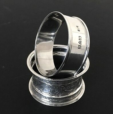 Solid Silver Pair Napkin Rings Hallmarked 1908 Rolason & 1913 Howson