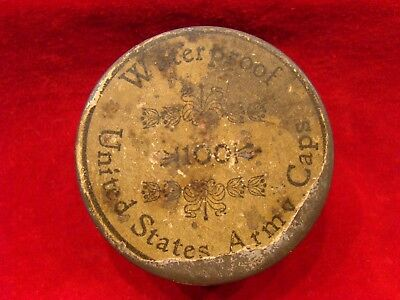 """Original Tin Of 100 """"united States Army"""" Percussion Caps With Intact Label."""
