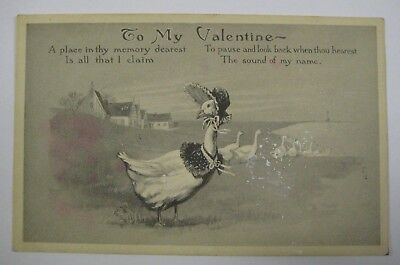 Vintage Early 1900's Valentines Day Postcard Antique GOOSE The Fairman Co.