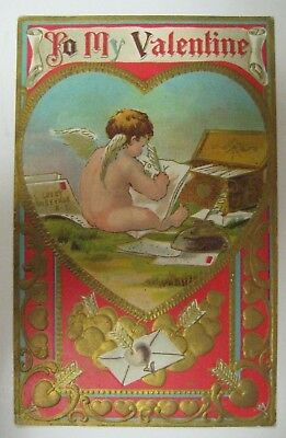 Vintage 1900's Valentines Day Postcard Antique BABY CUPID WRITING LOVE NOTES
