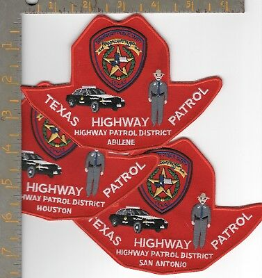 3 Novelty Texas DPS Highway Patrol District HQ Stetson Patch Abilene Houston SA