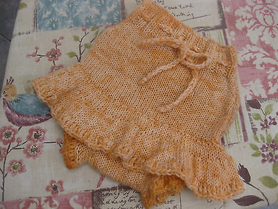 Pure wool hand knitted skirtie soaker nappy diaper cover 6 months approx baby