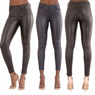 9288c3978a33 Womens High Waist Leather Look Ladies Skinny Stretchy Trousers Size 6-14