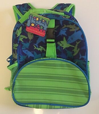 Stephen Joseph All Over Print Kids Backpack Shark Blue Green School NEW