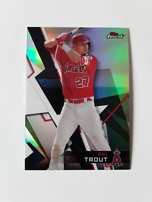 2018 Topps Finest Baseball Refractor Parallel Base Card #50 Mike Trout