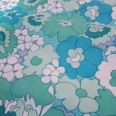 Vintage 60s 70s Flower Power Green Double Duvet Cover Retro Camper Van Fabric.