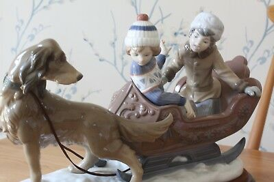 Superb Large Lladro 5037 Sleigh Ride. Dog pulling sleigh with 2 children. Mint.