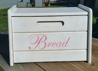 Wood bread box painted white and bubblegum pink shabby cottage kitchen decor