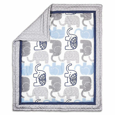 Little Peanut Blue and Grey Elephant Baby Crib Quilt by The Peanut Shell