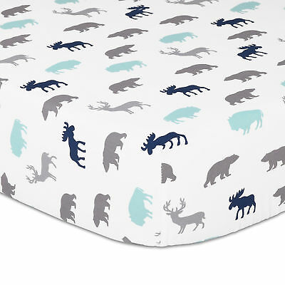 Woodland Trail Animal Silhouette Multi Fitted Crib Sheet by The Peanut Shell