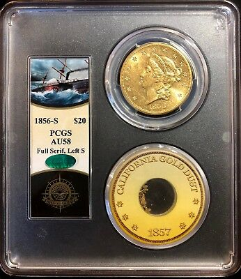 1856-S $20 Liberty PCGS CAC AU58 SS Central America shipwreck with gold dust