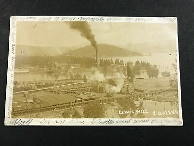 REAL PHOTO POSTCARD LEWIS LUMBER MILL, COEUR D'ALENE, IDAHO Logging Factory