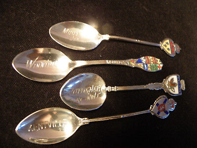 Sterling Silver Souvenir Spoon Lot Of 4 Canada Themes Total Weight 33 Grams Nice