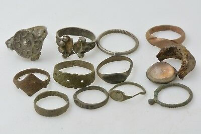 11 Roman and Byzantine bronze & silver rings 100-800 AD