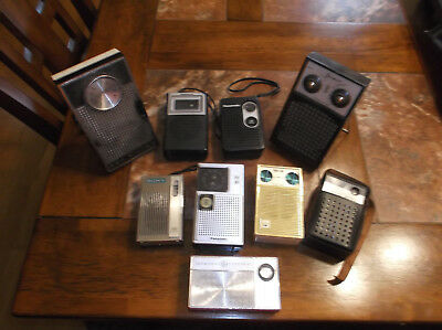 9 VTG Pocket Transistor Radios Mixed Lot Jewel Panasonic Four Star RCA Victor +