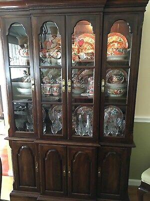 Ethan Allen Solid Cherry Wood China Cabinet Georgian Court