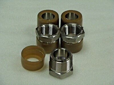 """Merit 316 Forged Stainless Steel 1"""" x 3/4"""" NPT Pipe fitting Bushing Class 3000"""