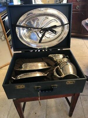 Antique Victorian Fine Silver Plate Tray Covered Serving Set In Suitcase