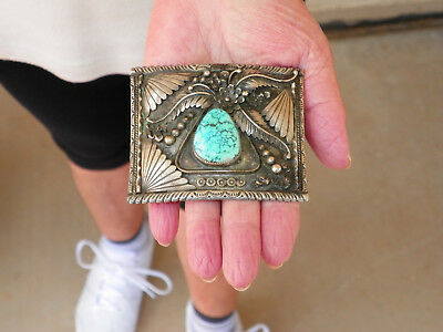 Vintage Eddy Chaco Sterling Silver & Web Turquoise Belt Buckle - 70.5 Grams