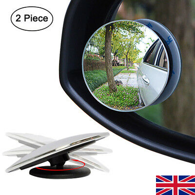 """2Pcs Adhesive 2"""" ROUND BLIND SPOT WIDE ANGLED MIRROR Easy Fit Car Wing Safety"""