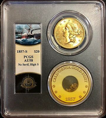 1857-S $20 Liberty PCGS AU58 SS Central America shipwreck with pinch of gold