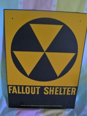 Vintage Fallout Shelter DOD  Metal Sign Original 14 X 10 1960's  No 3 Nuclear