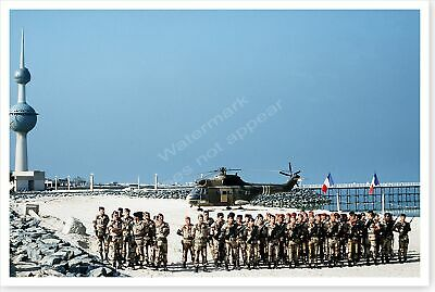 French Soldiers With AS-330 Puma Helicopter Operation Desert Storm 8 x 12 Photo