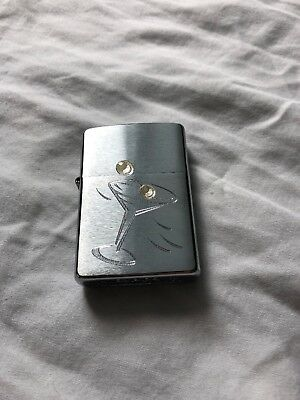 Zippo- 2004 Engraved Cocktail Hour Martini And Olive, Never Fired