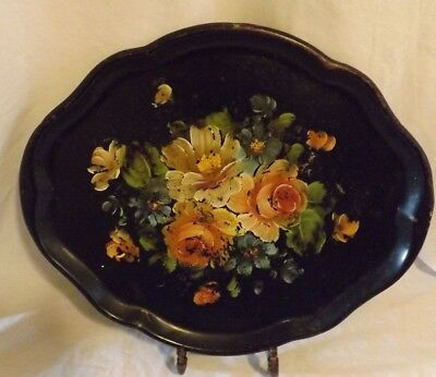 "Antique Hand Painted Tole Black Tray Distressed Floral Vintage Metal 16 3/4""x14"""
