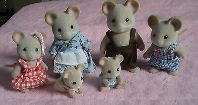 Sylvanian Families Maces Mouse Family. Mum Dad Brother Sister Babies