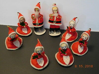 2 Vtg Christmas Santa Claus & 6 Little Girl Helpers Composition Face 5&10 Cent