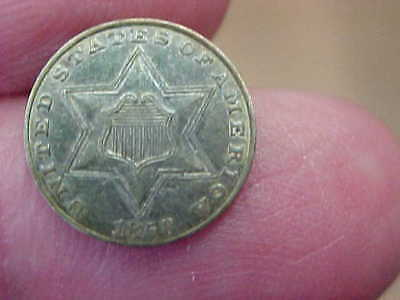 Au 1858 3 Three Cent Silver Type Ii Full Rim Date Shield Lines Star Points Toned