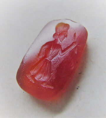 Lovely Middle Eastern Carnelian Bead Seal With Ruler Impression