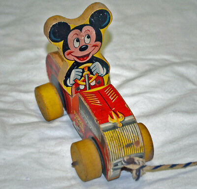 "DISNEY'S 1950's FISHER PRICE #310 WOODEN ""MICKEY MOUSE PUDDLE JUMPER"" PULL TOY"