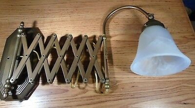 Vintage Brass Accordion Or Scissor Wall Mount Lamp with Frosted Shade