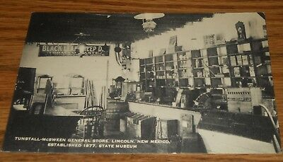 1930's Postcard~Tunstall McSween General Store Inside~Lincoln, New Mexico
