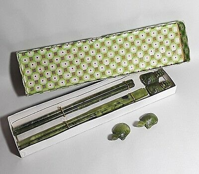 Vintage Chinese Green Jade Natural Stone Chopsticks TURTLE REST Onyx 2 Sets BOX