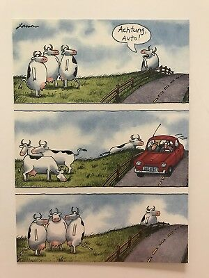 Vintage the far side greeting card ive got rhythm ive got gary larson far side blank greeting card cows and cars german achtung auto m4hsunfo