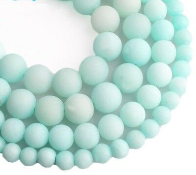 Blue Amazonite Frosted Beads Natural Stone Round Loose Matte DIY Jewelry Making