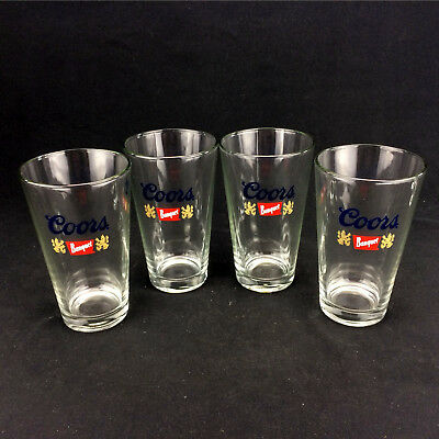 Lot 4 Coors Banquet Beer Pint Glasses Collectible Brewery 12oz Matching Ale Set