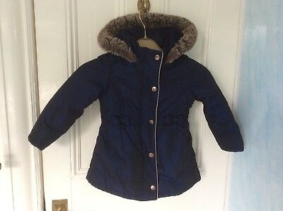 Ted Baker Baby Girls Navy Winter Coat Age 2-3 Years