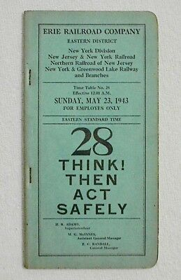 ERIE - Erie Railroad Co. New York Division Etc. Timetable #28 May 23, 1943