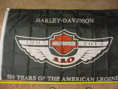 HARLEY DAVIDSON*110th ANNIVERSARY*BANNER*NEW*58 INC X 35 INC*PRINTED ON ONE SIDE