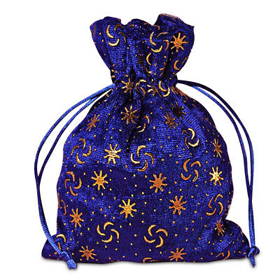Royal Blue With Embossed Gold Stars and Crescents unlined Drawstring Pouch