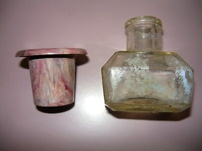 Old School plastic inkwell and glass ink bottle