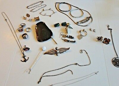 """Lot Of Sterling Silver 925 Scrap Jewelry-""""As Is"""" 160g.  30 items"""