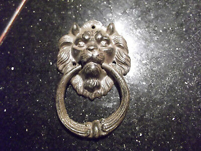 vintage repro  Cast Iron Rustic LION HEAD Door Knocker  6 1'2 heavy cast metal