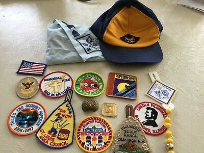Vintage Lot Of Boy Scouts & Cub Scouts Patches And Scarf Cap
