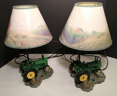 2 John Deere 1999 Tractor Lamps With Farm Scene Shades